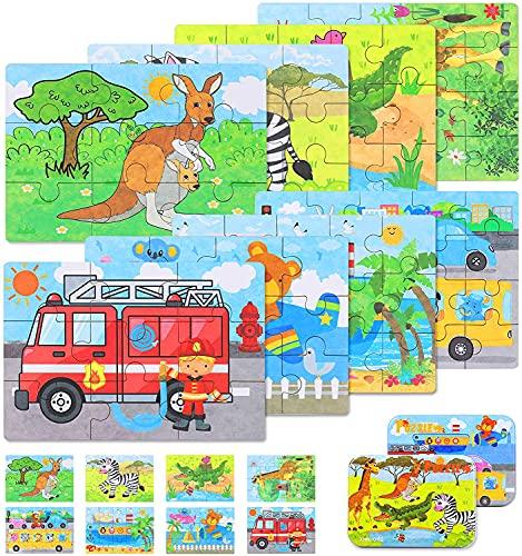MOOKLIN ROAM Puzzles Infantil de Madera 8 en 1, Juguete de Educativos Rompecabezas, Juego Montessori de Desarrollo Cognitivo con 2 Tema 8 Coloridos Diseños en Caja de Regalo para Niños 3+ Años