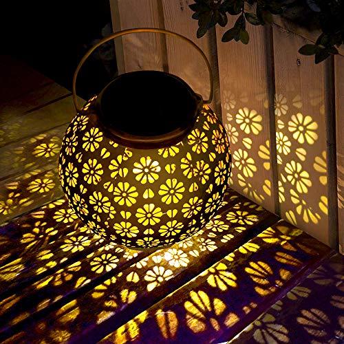 Solar Laterne LED Solarlampe für außen Solarleuchte Garten Hängend Outdoor Deko Solarlampen für Außen wasserdicht Gartenlaterne ideal für Garten,Terrasse,Garten, Hinterhöfe und Wege (rostfarbe)