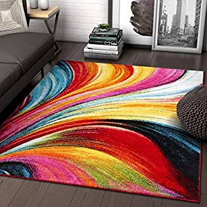 Aurora Multi Red Yellow Orange Swirl Lines Modern Geometric Abstract Brush Stroke Area Rug 3×5 ( 3'3″ x 5′ ) Easy Clean Fade Resistant Shed Free Contemporary Painting Art Stripe Thick Soft Plush