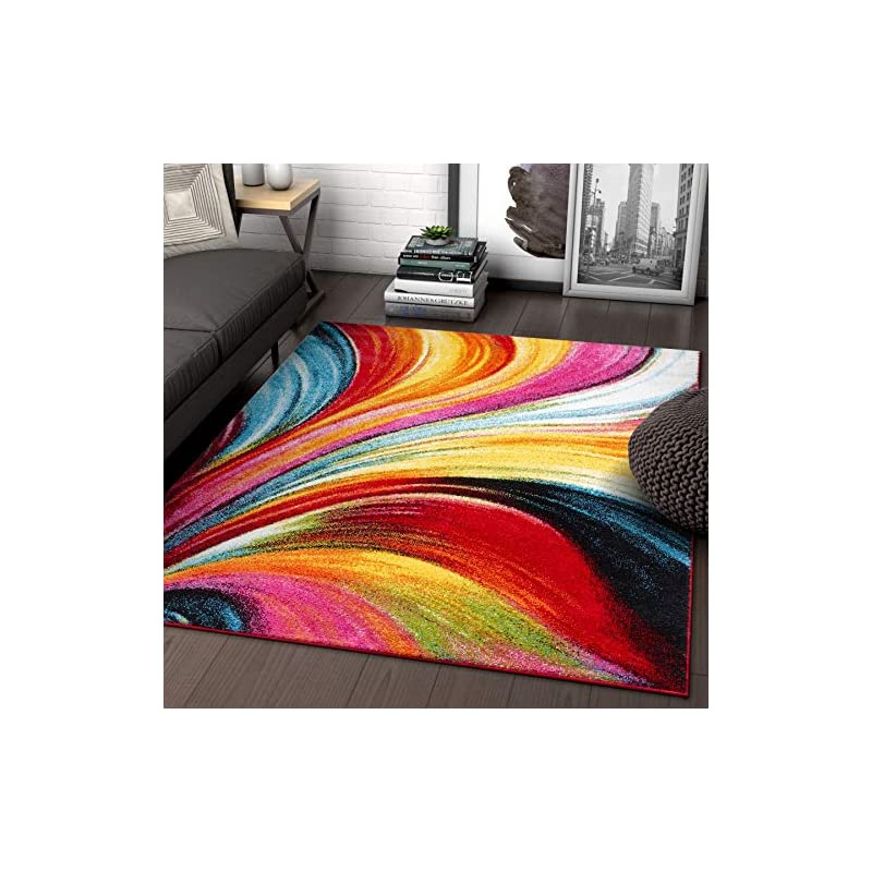 """silk flower arrangements aurora multi red yellow orange swirl lines modern geometric abstract brush stroke area rug 3x5 ( 3'3"""" x 5' ) easy clean fade resistant shed free contemporary painting art stripe thick soft plush"""