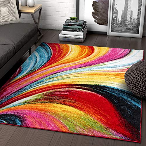 "Aurora Multi Red Yellow Orange Swirl Lines Modern Geometric Abstract Brush Stroke Area Rug 5 x 7 ( 5'3"" x 7'3"" ) Easy Clean Stain Resistant Shed Free Contemporary Painting Art Stripe Thick Soft Plush"