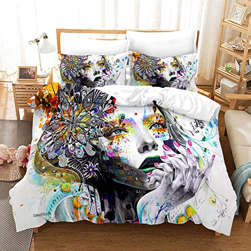 BEDSERG Duvet Cover Set 3D Printed Painted woman avatar Double 78.74 x 78.74 inch Bedding Duvet Cover Set with Zipper Closure for Kids Boys Teen Soft Microfiber