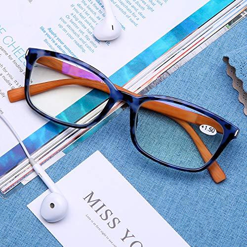 DOOViC Blaulichtfilter Computer Lesebrille Blau/Rechteckig Rahmen Federscharnier Bambus Mustern Büegel Brille mit Stärke für Herren/Damen 1,5