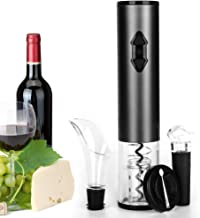 Electric Wine Opener,DEKINMAX Cordless Automatic Wine Bottle Opener Corkscrew Wine Opener Set-With Foil Cutter/Wine Aerator Pourer/Vacuum Stopper/Batteries Included(Battery Gray)