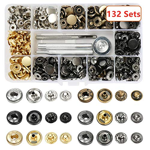 Atpot Snap Fasteners Kit, 132 Sets 12.5mm Metal Button Snaps Press Studs with 4 Fixing Tools, 6 Color Leather Snaps for Clothing, Leather, Jacket, Jeans Wear, Bracelets, Bags,DIY Craft