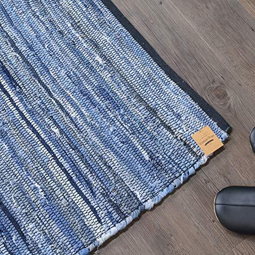 ラグズファクトリー ラグ 洗える ラグマット チンディ 190x190 cm 2畳 ブルー