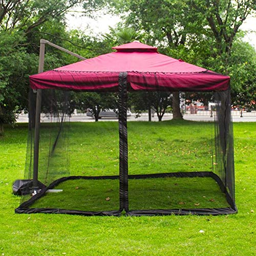 YONG Outdoor Garden Umbrella Table Screen, Patio Umbrella Mosquito Netting, Polyester Mesh Screen with Zipper Opening and Water Tube, Black (300300230cm),Black