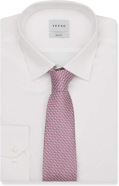 YEZAC Men's Cotton Dress Shirt Slim fit Wrinkle Resistant Long Sleeve