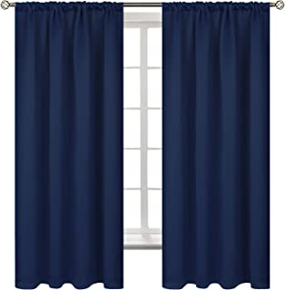 BGment Rod Pocket Blackout Curtains for Bedroom - Thermal Insulated Room Darkening Curtain for Living Room, 42 x 63 Inch, 2 Panels, Navy Blue
