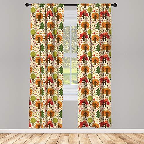 ABAKUHAUS Wald Vorhänge, Bunte Cartoon Herbst, Fensterbehandlungen 2 Panel Set für Wohnzimmer Schlafzimmer Dekor, 150 cm x 225 cm, Mehrfarbig