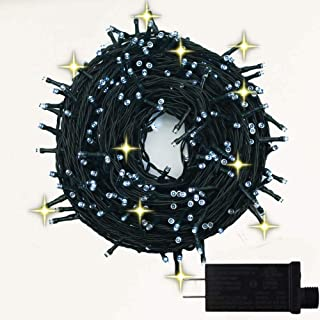 YASENN 300Leds String Lights Christmas Tree String Lights for Indoor and Outdoor,Twinkling Effect Low Voltage Fairy Lights for Party,Wedding(300LED 10% Flasher, Pure White)