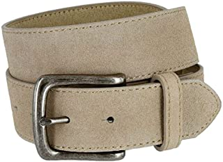 """Rounded Edge Buckle Casual Jean Suede Leather Belt 1 1/2"""" Wide for Women"""