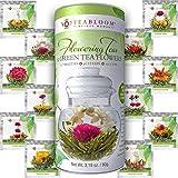 Teabloom Fiori di Tè - 12 Varietà Uniche di Fiori da Tè da Infusione - Foglie di Tè Verde & Fiori Commestibili Legati a Mano - Confezione Regalo con 12 Infusori - 36 Infusioni, 250 Tazze