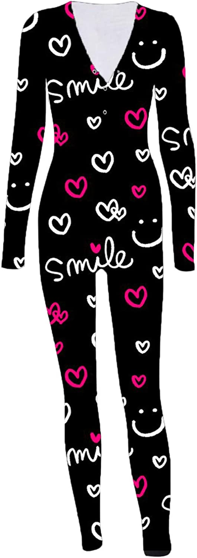 Women's Jumpsuit Pajamas Sexy,Plus Size Onesies Sleepwear Button Pajama Jumpsuits Fashionable Homewear Bodycon Romper