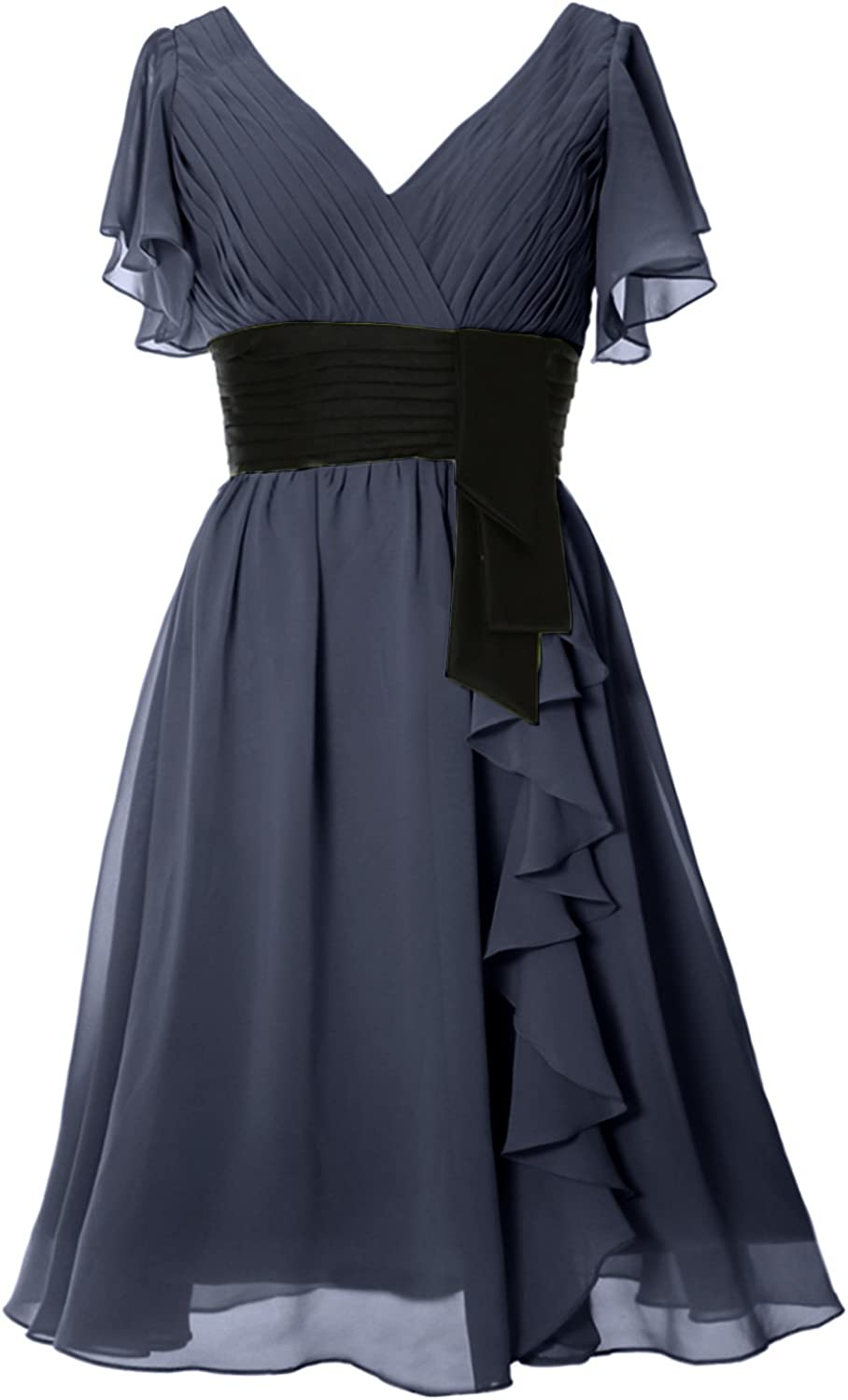 MACloth Short Mother of The Bride Dress V Neck Wedding Formal Gown with Sleeves