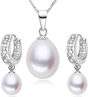 HENGSHENG Pearl Jewelry Necklace Earrings Set for Women Pearl Pendant Necklace Rhinestone Drop Earrings