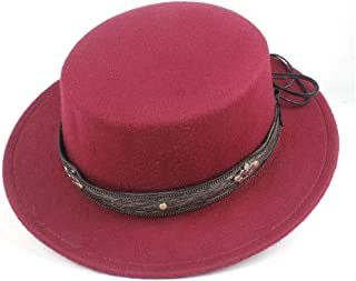 2019 Mens Womens Hats Unisex Men Women Flat Top Hat Autumn Pop Church Travel Hat Fascinator Wool Polyester Casual Wild Hat Adjustable Fedora Flat Top Hat Size 56-58CM
