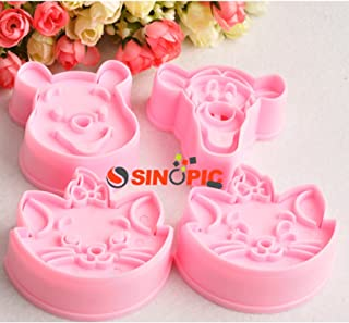 Cute Cookie Mold Fondant Cake Cutter Modelling DIY Tools Pooh,tiger & Marie Cat Plungers (Pooh & Tiger & Marie Cat)