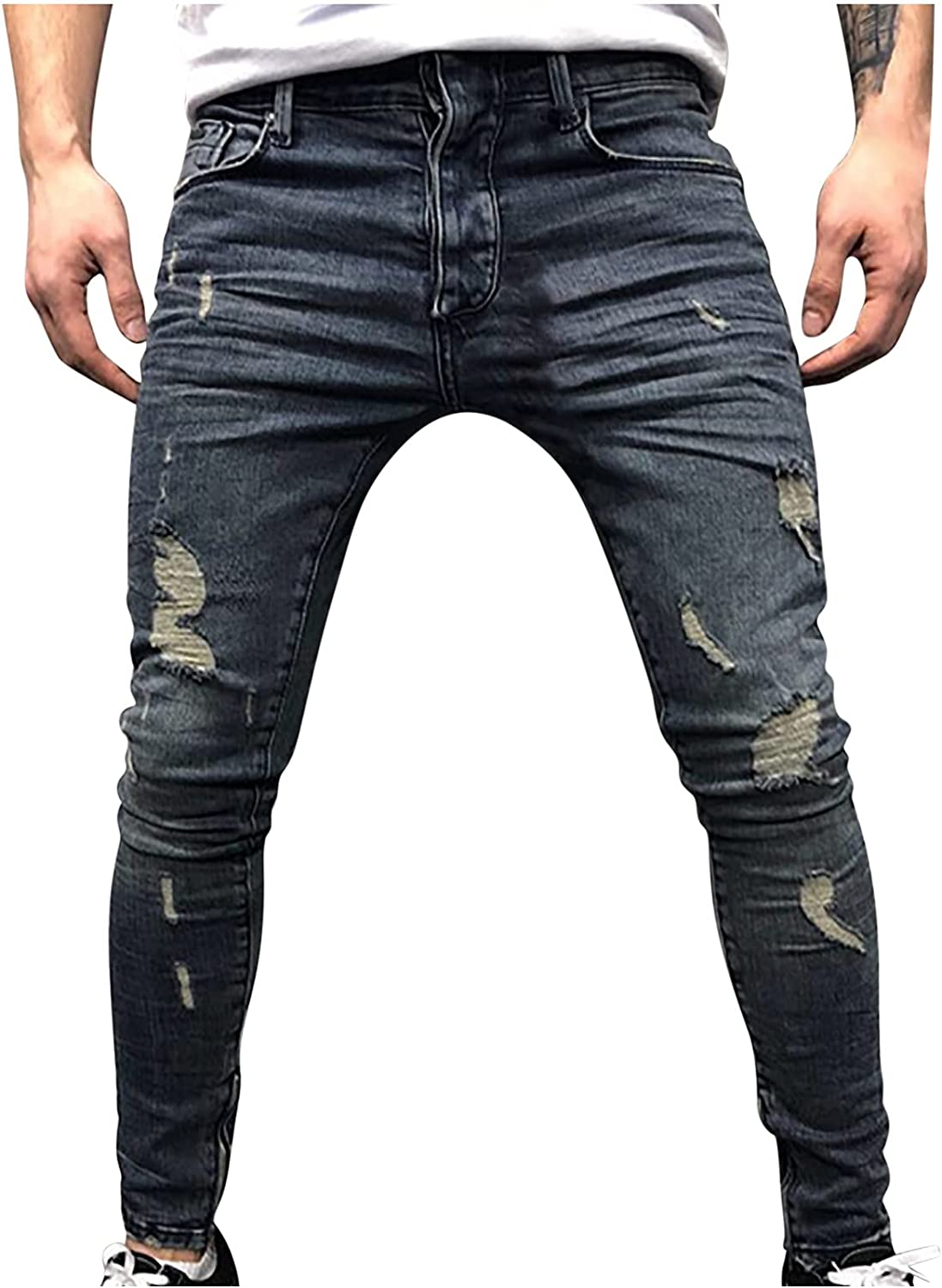 Courier shipping free shipping Homisy Ripped excellence Jeans Men Skinny Fit Stretch Ret Slim Casual