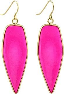 SUNYIK Women's Stone Crystal Dangle Drop Earrings, Sword Shape, Healing Crystal Point Jewelry