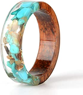 Unique Wood Resin Ring with Turquoise Insided Transparent Crystal Band Ring Best Handmade Gift for Her
