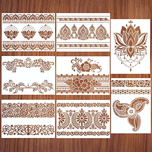 8 Pcs Large Mandala Flower Border Stencils, Reusable Mandala Painting Template Floral Design Stencil, Drawing Craft Stencil for DIY Tile/ Furniture/ Canva/ Floor/ Wall/ Outdoor Decoration (11.4'x8.3')