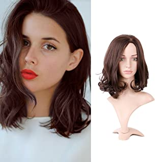 Queentas Curly Shoulder Length Brown Bob Layered Wigs with Highlights Kanekalon Synthetic Short Hair Wigs for Women (#4A)
