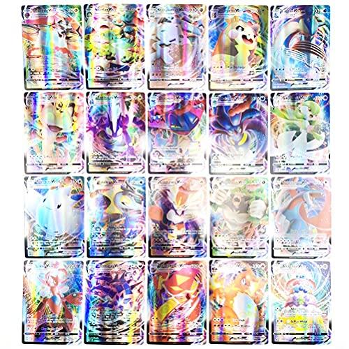 Cartas Pokémon, Juego de Cartas de Pokemon de 120 Piezas, Cartas de Juego de Dibujos Animados, Juego de Tarjetas Pokemon incluye 85v + 25vmax + 9enegy + 1trainer, Trainer Cartas Regalos para Niños