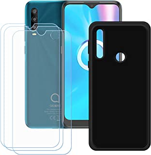 FZZ Case for Alcatel 1SE Light + 3 Pack Tempered Glass Screen Protector Protective Film,Slim Black Soft Gel TPU Silicone P...