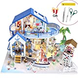 Jeteven 3D DIY Puppenhaus ''Blaue Haus'' 2 Etagen Puppen-Villa mit LED licht + Möbeln(Über 50...