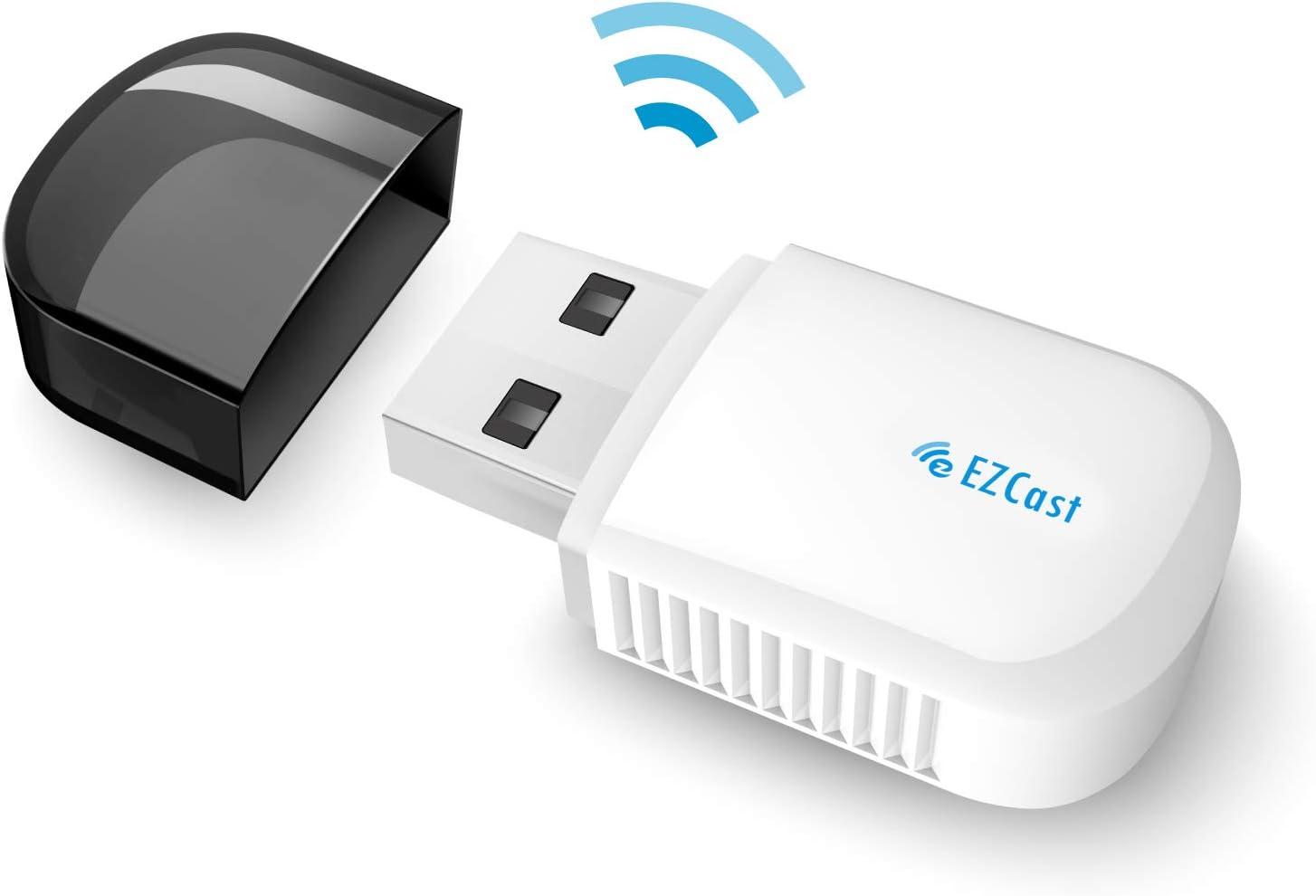 Adaptador WiFi USB EZCAST para PC/escritorio/portátil,alta velocidad AC600, WiFi de banda dual de 2,4GHz/5GHz, Bluetooth, MU-MIMO, Windows XP/7/8/8.1/10 y macOS