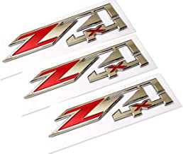 3pcs Z71 4x4 Emblems Badges Replacement for GMC Chevy Silverado Sierra Tahoe Suburban 1500 2500hd 3500hd Decal Chrome Red