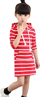 [ユリカー] ワンピース パーカー ガールズ 女の子 長袖 ストライプ フード付き ボーダー柄 キッズ 秋 Aライン シンプル かわいい