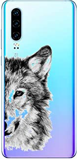 Suhctuptx Compatible with Huawei P30 Case Cover Clear Transparent Soft TPU Silicone Rubber Bumper with Design Cute Pattern Hybrid Shockproof Back Protector Cover(Wolf)