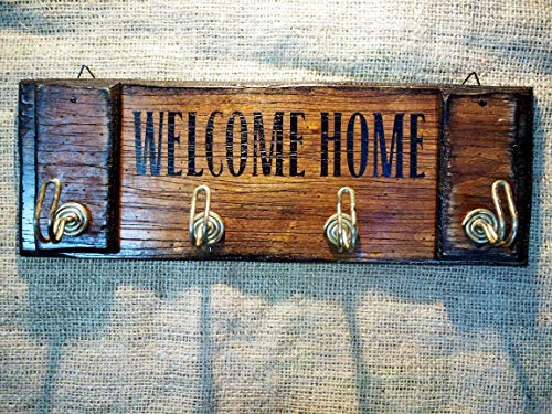 Personalized Wall Mounted Coat Rack, Key Hanger, Dog Leash Holder, Customize with Your Unique Wording, Handmade Rustic Old Wood with 4 Hooks