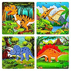6. Max Fun Wooden Dinosaur Jigsaw Puzzles for Kids (4 pack)