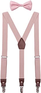 ORSKY Men Boys Adjustable Suspenders and Pre Tied Bow Ties Set