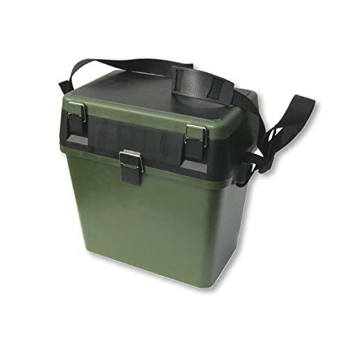 NEW IMPROVED DESIGN - Fishing Tackle Seat Box, Extra Padded Seat, Should Strap and Storage