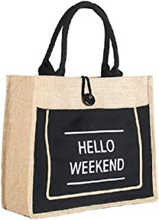 JOYEAR Canvas Jute Reusable Large Tote Grocery Shopping Foldable Handbag, Fashion Lady Bag, Diaper bags, Vintage Burlap Bag for Daily Use (Black, Medium)
