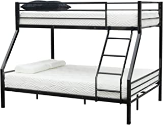 Amailtom Twin-Over-Full Bunk Bed Sturdy Metal Frame with Ladder,Rubber Cover & Reinforced Safety Rails for Bedroom Dormitory Kids Teens Adults,78 x 57 x 60 Inch,Easy Assembly,Black