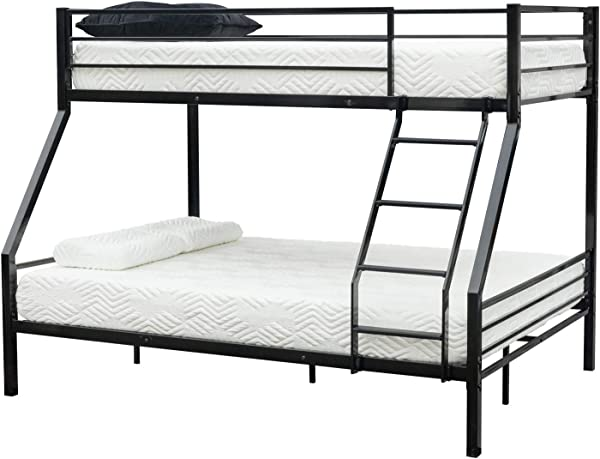 Guxing Twin Over Full Metal Frame Bunk Bed With Oblique Ladder Safety Rails And Reinforced Guardrail For Kids Adults Children Teens