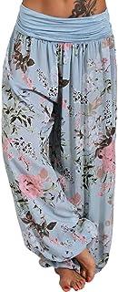 Women's Smocked Waist Floral Yoga Boho Harem Pants