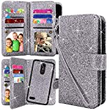 Harryshell 12 Card Slots Detachable Magnetic Wallet Case Shockproof PU Leather Flip Protective Cover with Wrist Strap for LG K30 (X410) / LG Harmony 2 / LG Phoenix Plus/LG Premier Pro (Glitter Grey)