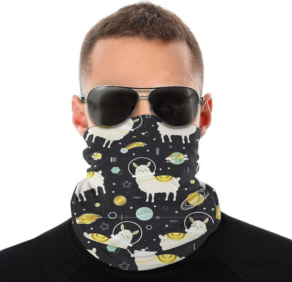 Kiuloam Bandanas Face Mask, Lamas and Planets Neck Gaiter Mask Headband for Men Women Face Scarf Dust, Outdoors, Sports