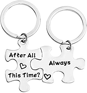 FEELMEM After All This Time Always Couples Puzzle Keychain Set Wedding Valentine's Gift Long Distance Keychain Friendship Gift