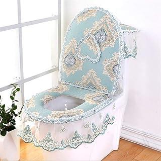 3 Pieces/Set European Lace Toilet Seat Cushion Household Toilet Seat Seat Washer Winter U-Shaped Toilet Seat zhengpingpai ...