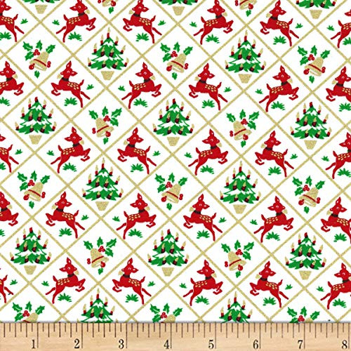 Michael Miller Hello My Deer! Metallic Fawn Frolic White Quilt Fabric By The Yard