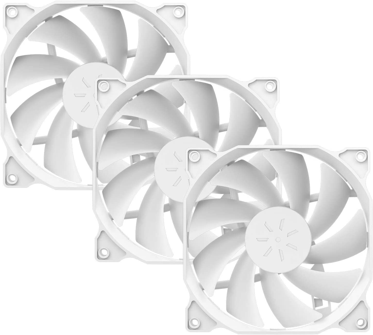 uphere 120mm White Case Fan Long Life for PC Computer Case Cooling 3-Pack(12WT3-3)