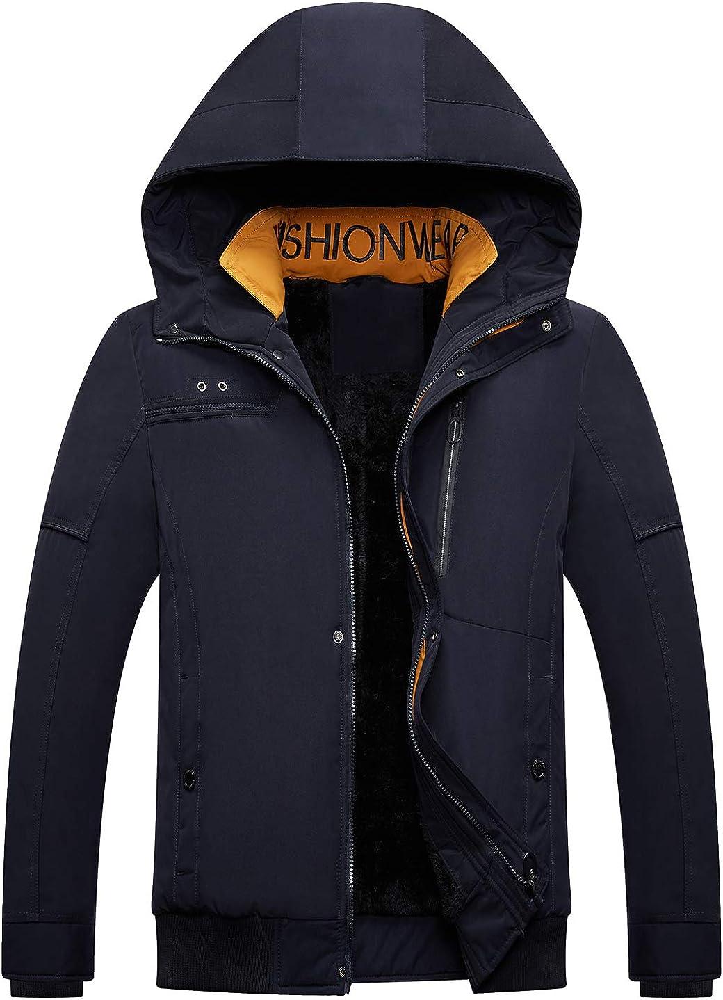 chouyatou Men's Winter Shearling Lined Zip Front Down Alternative Hooded Anorak Jacket