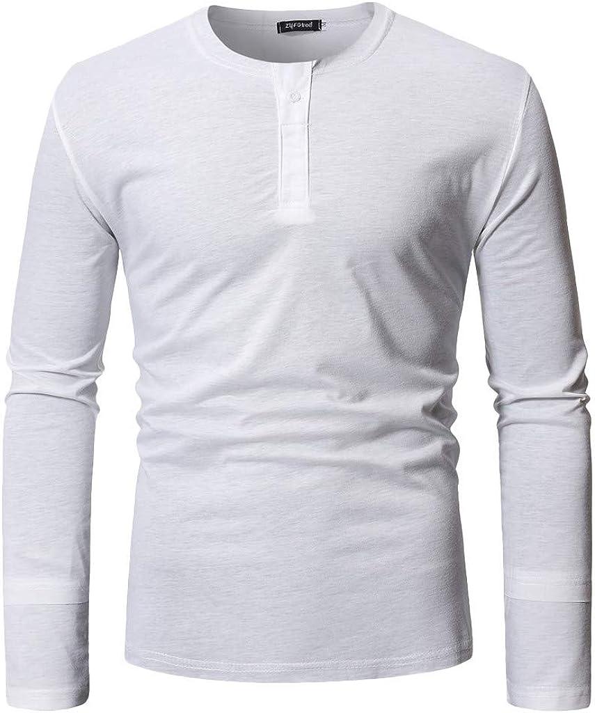 MODOQO Men's Long Sleeve Henley T-Shirt Casual Solid Pullover Tee Sweatshirts